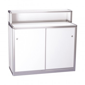 Bar and information counter, lockable, white