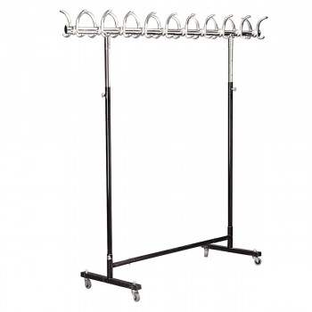 Rack on rollers with hooks