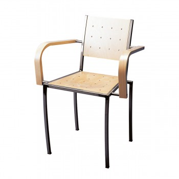 Chair Pico with armrests, natural wood