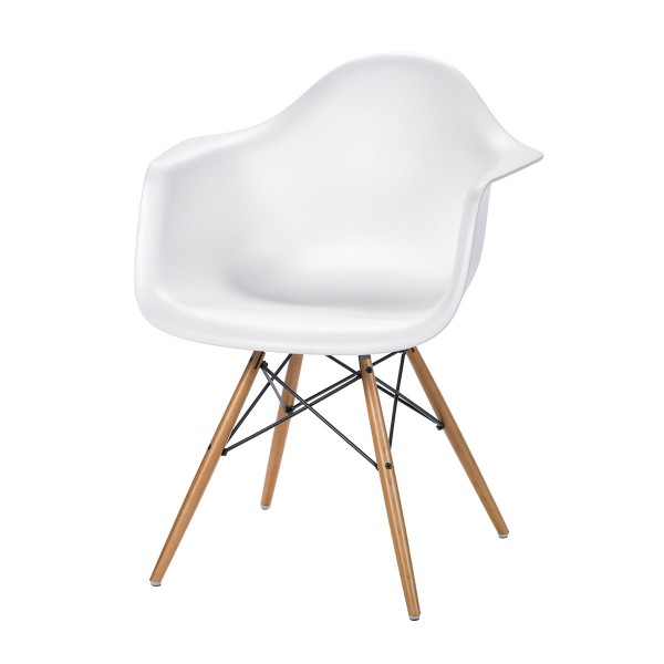 Eames Plastic Armchair With Wood Legs, White